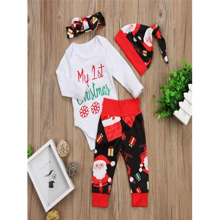 4PCS Christmas Toddler Baby Letter Print Romper+Pants+Hat+Headbands Set Outfit (Joseph Outfit Christmas)