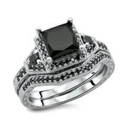 Noori Collection Noori 14k White Gold 2ct TDW Princess Black Diamond Bridal Ring Set (black, opaque)