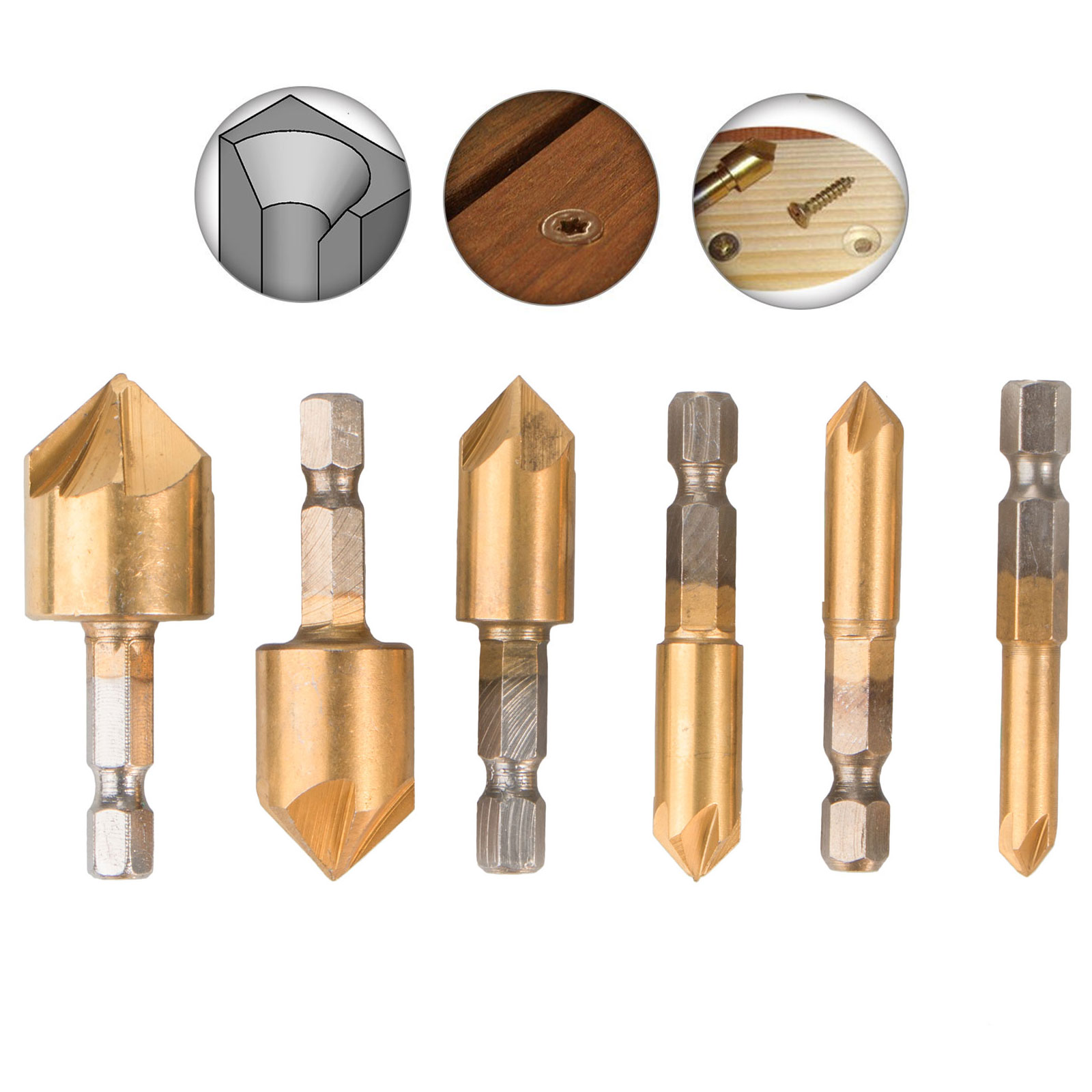 6 Pack Countersink Drill Bit Set, 1/4'' Hex Shank HSS 5 Flute 90 Degree Center Punch Tool Sets for Wood Quick Change Bit 6/8/9/12/16/19mm