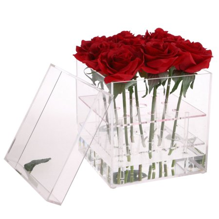 Sweetsmile Beauty Clear Acrylic Rose Flower Box Makeup Organizer Cosmetic Tools Holder Flower Gift Box For Girlfriend Wife With Cover