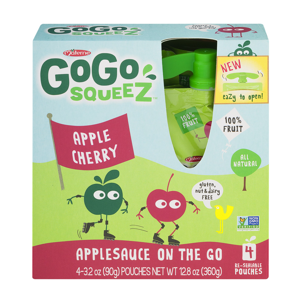 GoGo Squeez Applesauce On The Go Apple Cherry - 4 CT