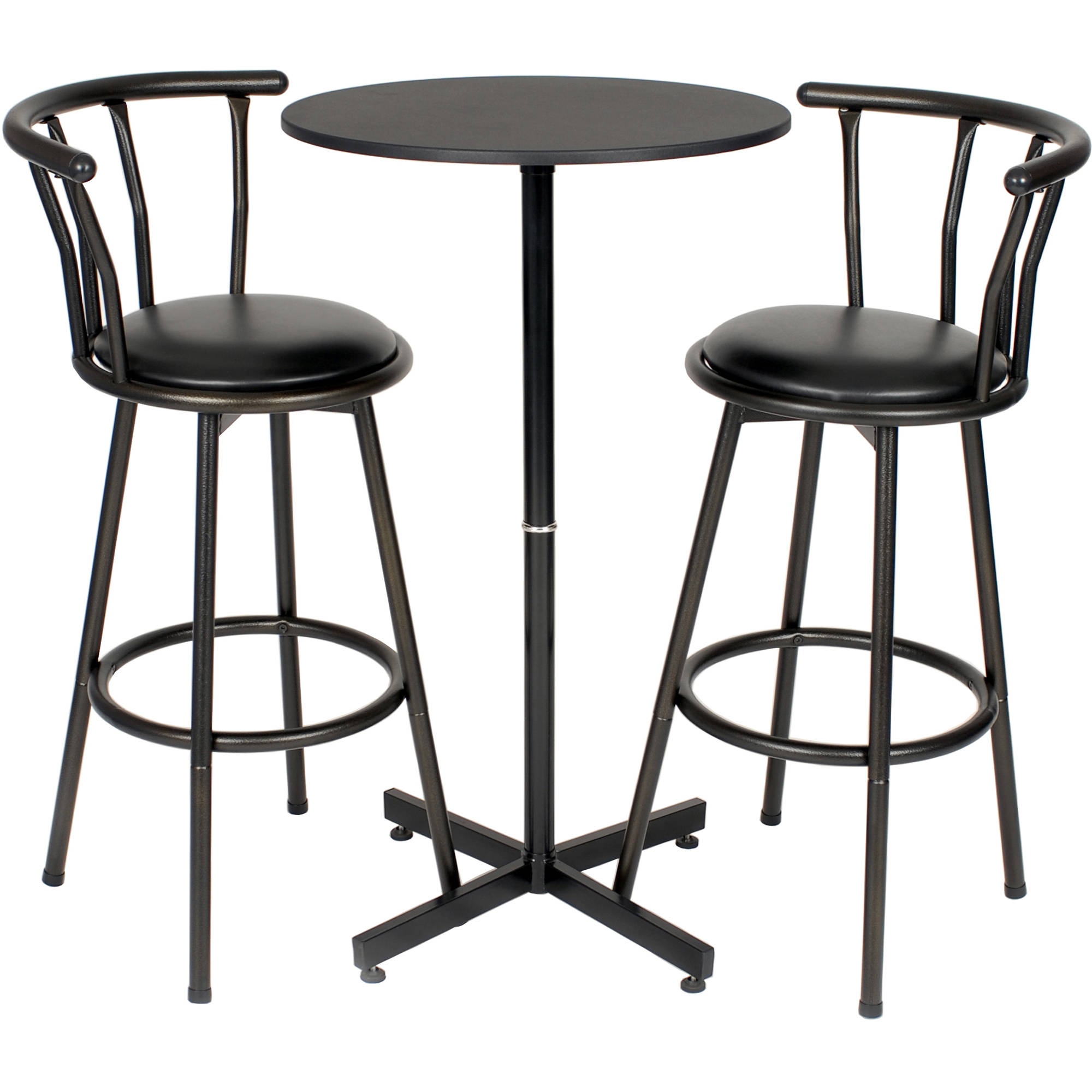 Roundhill Nor Hill 3 Piece Black Metal Height Bar Table Set with 2