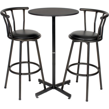 Roundhill Nor Hill 3 Piece Black Metal Height Bar Table Set With 2 Stools