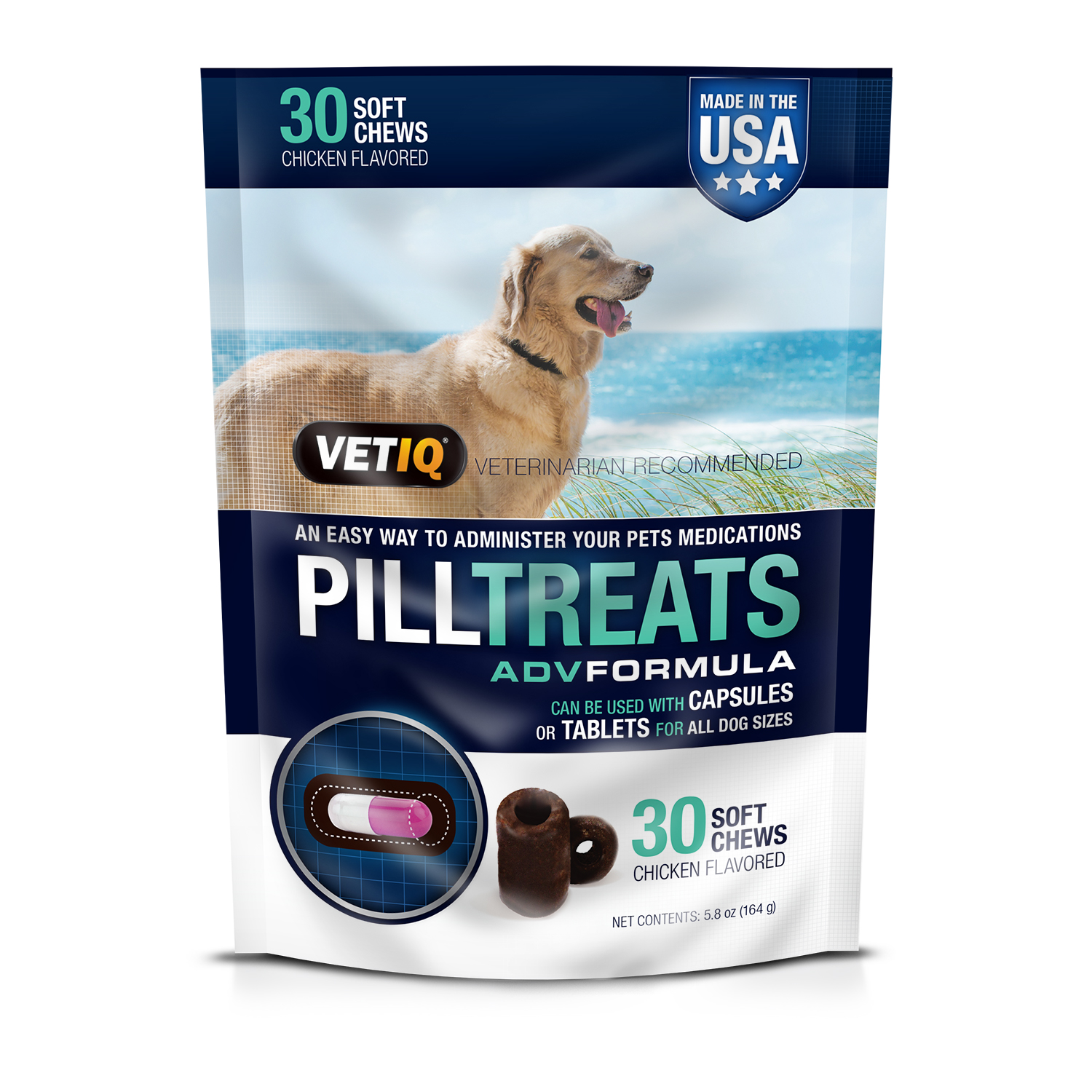 Vetiq Chicken Flavored Dog Pill Treats, 30 Ct.
