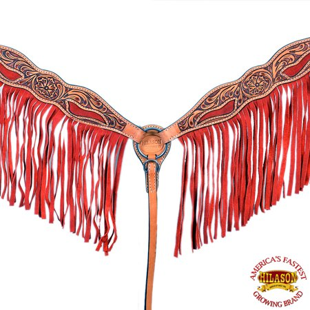 HILASON WESTERN AMERICAN LEATHER HORSE BREAST COLLAR FLORAL TAN RED FRINGES