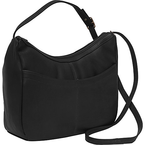 Top Zip Hobo Style Leather Shoulder Bag w Front Open Pocket (Black)