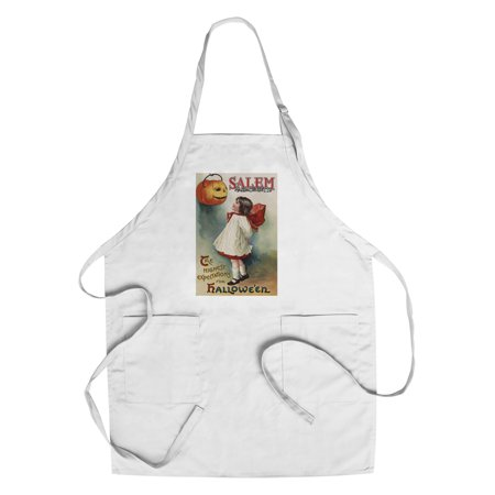 Salem, Massachusetts - Halloween Greeting - Girl in Red and White - Vintage Artwork (Cotton/Polyester Chef's - Halloween In Massachusetts