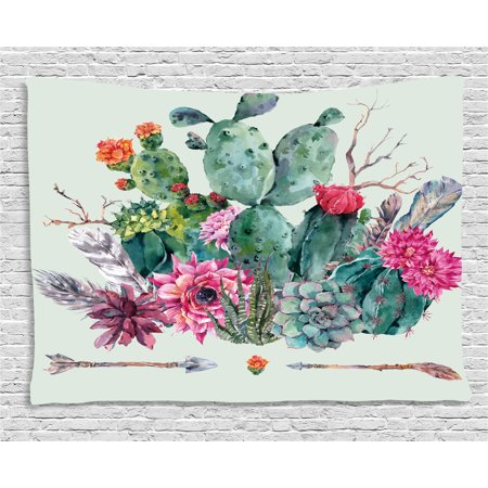 Cactus Decor Tapestry, Spring Garden with Boho Style Bouquet of Thorny Plants Blooms Arrows Feathers, Wall Hanging for Bedroom Living Room Dorm Decor, 60W X 40L Inches, Multicolor, by Ambesonne](Cactus Decor)