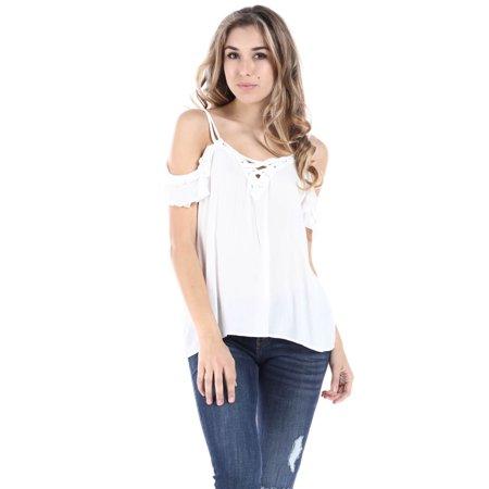 ff4c3ba7343195 Ambiance - Salt Tree Women s Crossover Strap Cold Shoulder Ruffled Top -  Walmart.com