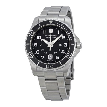 - Victorinox Swiss Army Maverick GS Steel Mens Watch Black Dial Date  241436