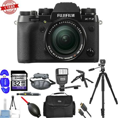 Fujifilm X-T2 Mirrorless Digital Camera with 18-55mm Lens | 32GB Memory Card Bundle