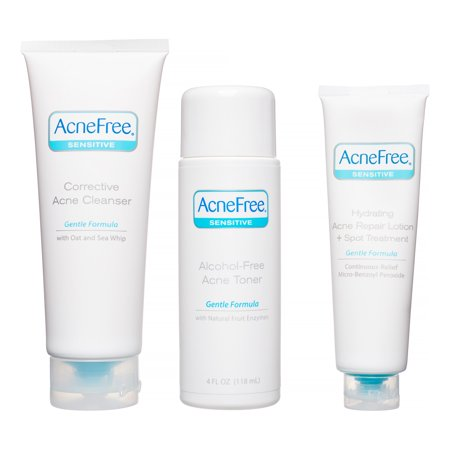 Image of AcneFree 3 Step Acne Treatment Kit for Sensitive Skin with Salicylic Acid Face Wash, Toner, and Lotion - 3pc