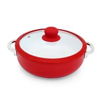 IMUSA CHI-00071R Ceramic Nonstick Caldero with Glass Lid and Silicone Rim 3.7-Quart, Red