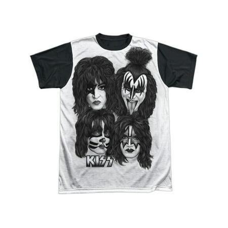 Kiss Hard Rock Metal Band Rock N' Roll Music Band Heads Adult Black Back -