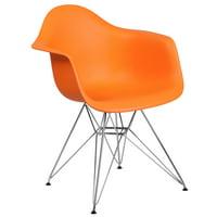 Flash Furniture Alonza Series Orange Plastic Chair with Chrome Base