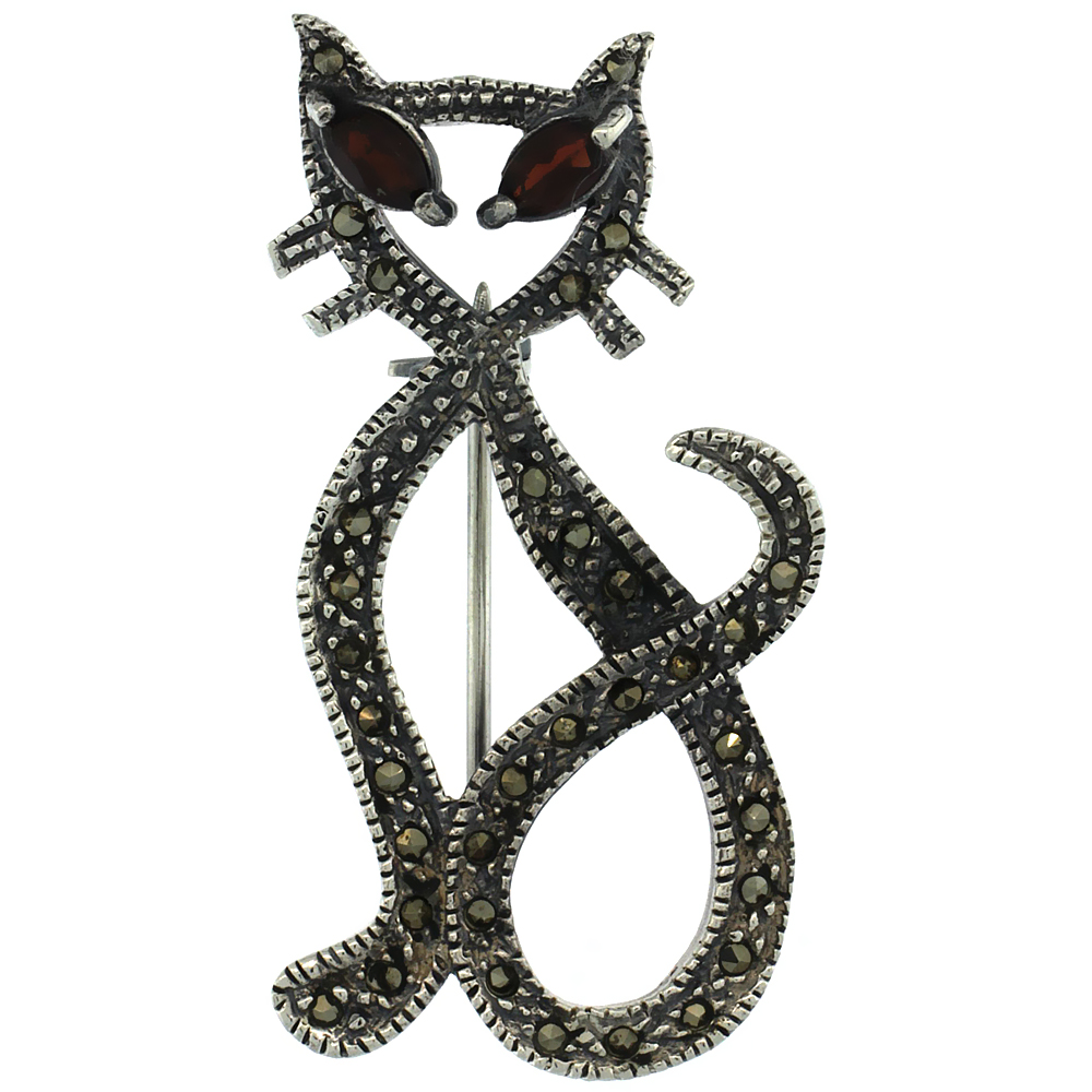 Sterling Silver Marcasite Cut-out Cat Brooch Pin w  Marquise Cut Garnet Stones, 1 3 4 inch (46 mm) tall by WorldJewels