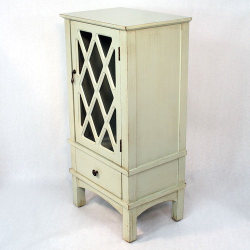Heather Ann Creations Wooden Accent Cabinet with Glass Insert