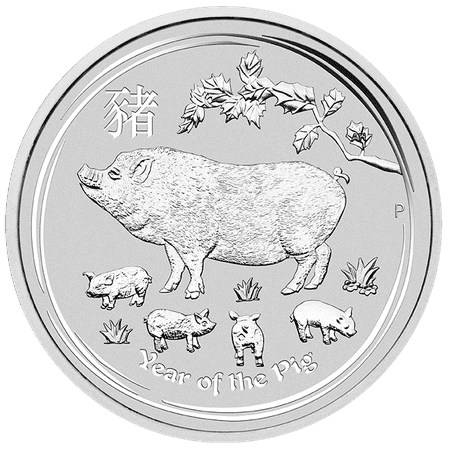 2019 Year of the Pig 1/2 oz Silver Coin - Perth Mint Lunar Series II