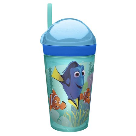 DRYA-S110 0, Finding Dory, Rotating snack lid design is simple to open & close for easy access; tumbler lid screws on to reduce chance of spills; Fits in most car.., - Open Snake