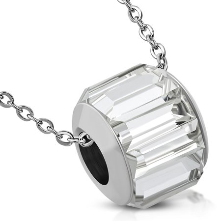 - Stainless Steel Bead Barrel Baguette Crystals Charm Link Chain Necklace Pendant