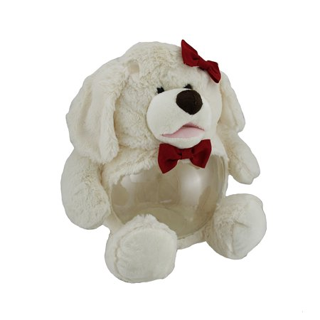 Teddy Tank Plush White Dog 1 Gal Fish Tank Friend W Red