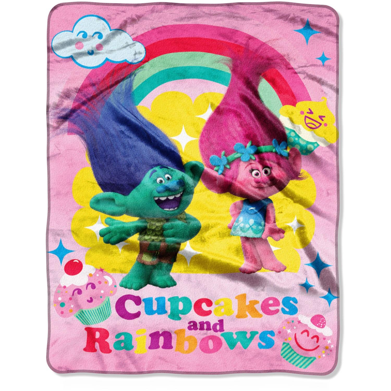 "DreamWorks Trolls Cupcakes and Rainbows 46"" x 60"" Micro Raschel Throw"