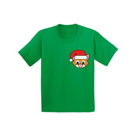 Boys Christmas Suits (Awkward Styles Cat Santa Pocket Youth Shirt Christmas Santa Shirts for Kids Cute Cat Ugly Christmas T Shirt Christmas Kitten Shirt for Boys and Girls Funny Christmas Pocket Shirts Gifts)