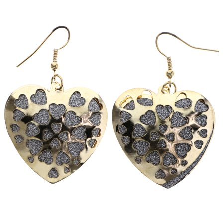 Mi Amore Glitter Heart Dangle-Earrings Gold-Tone & Silver-Tone
