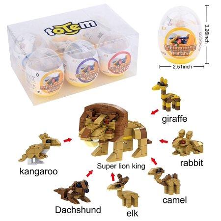 6 Filled Easter Egg Building Toys - Animal Safari Zoo Set - Age 6-12 Learning Educational Inside 3