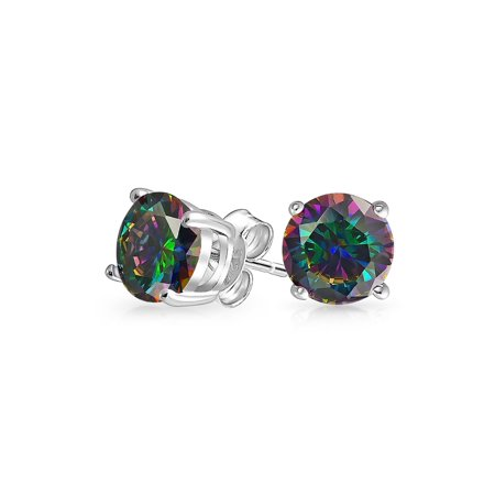 Round Black Mystic Rainbow Cubic Zirconia Solitaire CZ Stud Earrings For Men For Women 925 Sterling Silver More Sizes (Rainbow Earrings)