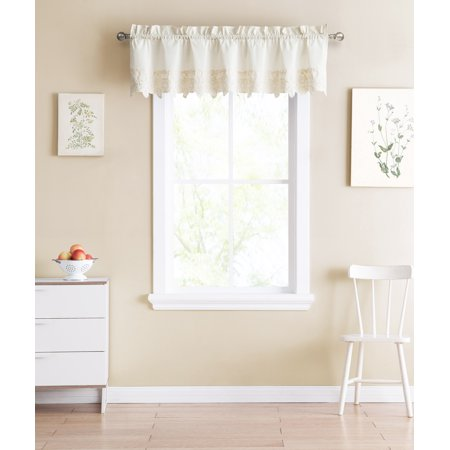 Shabby Chic Ivory Window Curtain Valance with Floral Doily Die Cut Out Design, 100%Cotton, 60