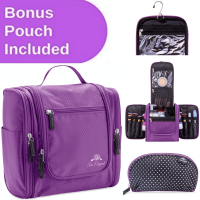 AmElegant PREMIUM Travel Toiletry Bag And Makeup Bag Organizer For Women - Spacious Hanging Cosmetic Bag Storage - Great For Travel Accessories - Makeup Pouch Included (Purple)