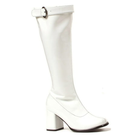 Women's Wide Width Calf Gogo Boots - White Gogo Boots Size 8