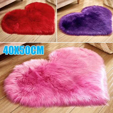 Sheepskin Wool Rug Throw - TSV Super Soft Indoor Modern Shag Area Silky Smooth Fur Rugs 40X50cm Love Heart Shaped Rug Artificial Wool Sheepskin Hairy Carpet Faux Floor Mat Fluffy Carpet