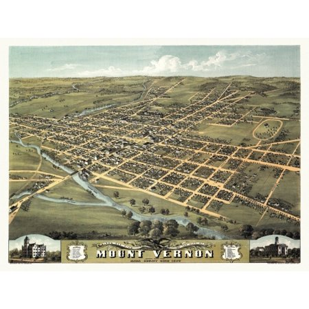 Vintage Map of Mount Vernon Ohio 1870 Knox County Stretched Canvas -  (24 x 36)