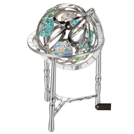 Matashi Crystal Crystal Studded Spinning Globe Sculpture