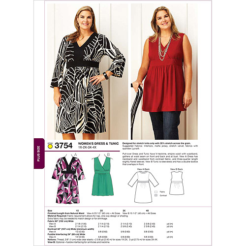 Kwik Sew Pattern Dress and Tunic, (1X, 2X, 3X, 4X)