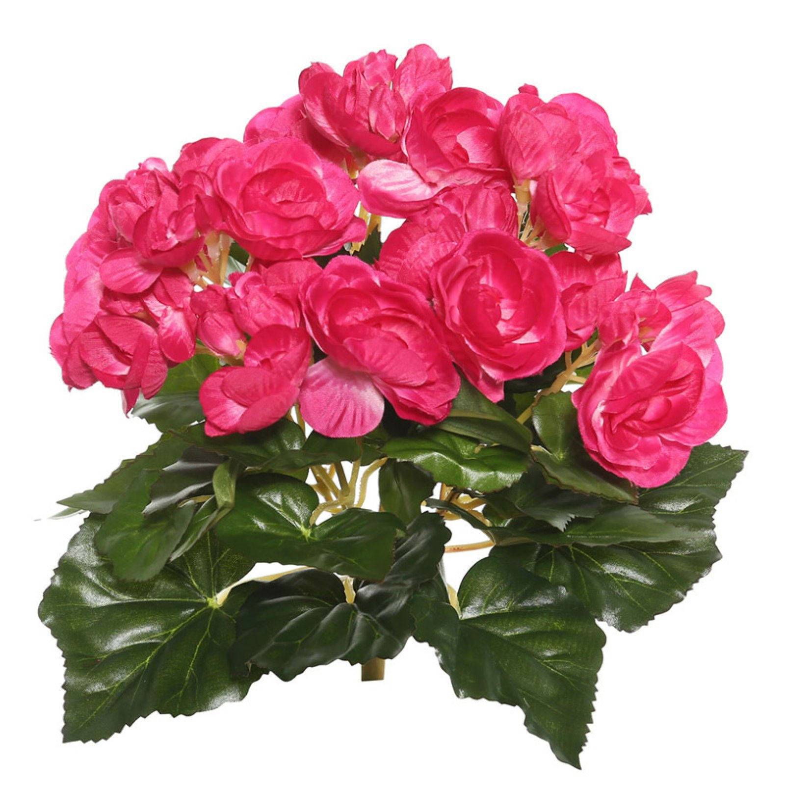 "Vickerman 9.5"" Hot Pink Polyester Begonia Bush with 36 Leaves and 54 Flowers"
