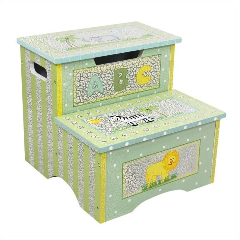 Teamson Kids Safari Crackle Step Stool With Storage