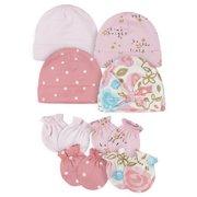 Gerber Baby Girls Caps & Mittens Set, 8-Piece