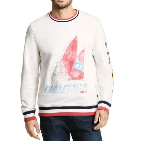 Nautica Mens Sweater White Ivory Size XL Artist Boat Pullover Crew Billabong Cotton Sweatshirt