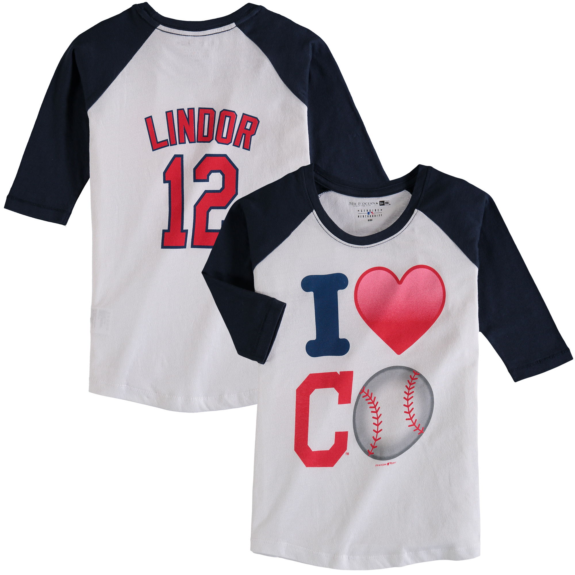Francisco Lindor Cleveland Indians 5th & Ocean by New Era Girls Youth Emoji Love Player Name & Number 3/4-Sleeve Raglan T-Shirt - White/Navy
