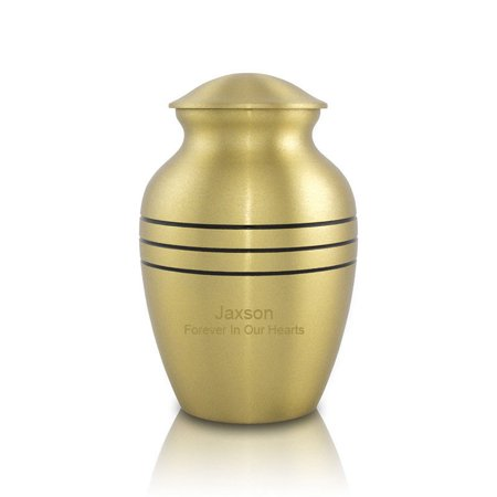 - Bronze Cremation Urn For Ashes - Small 40 Pounds -  Bronze Classic Tri-Band