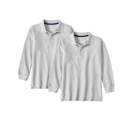 Wonder Nation School Uniform Long Sleeve Double Pique Polo, 2-Pack Value Bundle (Little Boys & Big Boys)](Children's Cheerleading Uniforms)