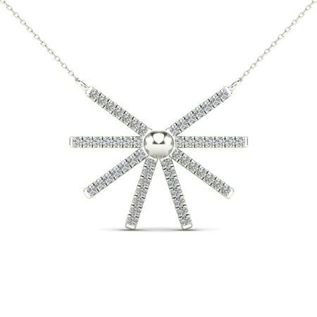 aaXia 10K White Gold 1/8ct TDW Diamond Sunburst Necklace