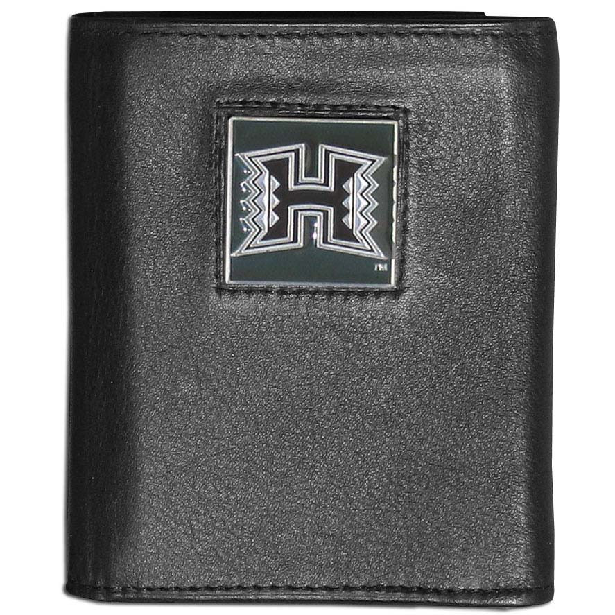Hawaii Leather Tri-fold Wallet Packaged in Gift Box (F)