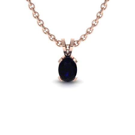 1/2 TGW Oval Shape Sapphire Necklace In 14K Rose Gold Over Sterling Silver, 18 Inches Designer Pink Sapphire Necklace