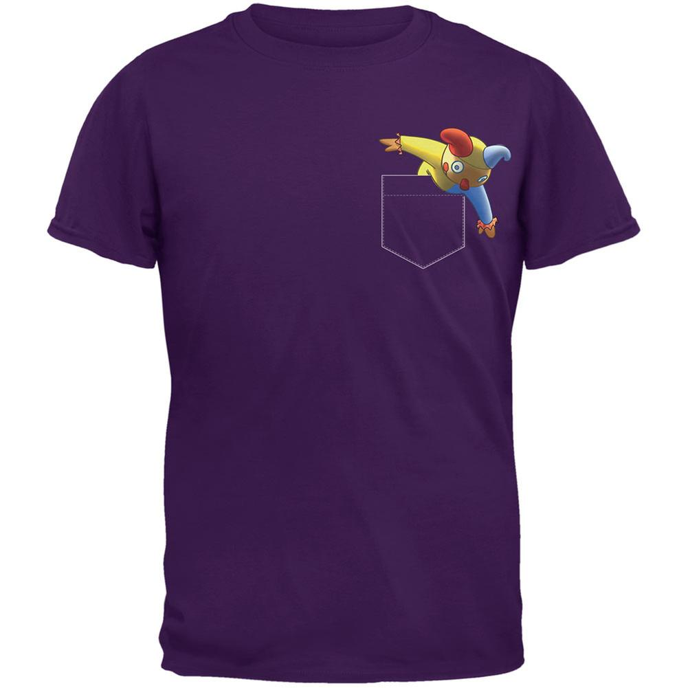 Pocket Halloween Horror Jack-In-The-Box Purple Adult T-Shirt
