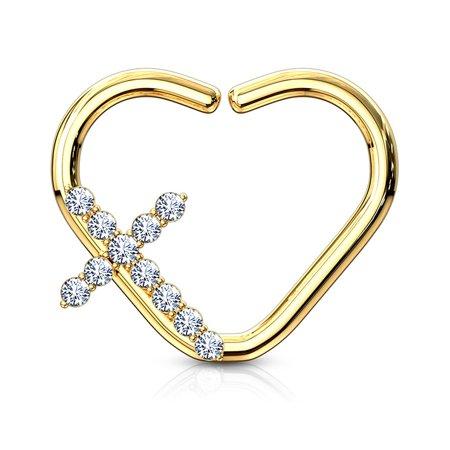 16g Platinum & Gold Plated Heart w/ CZ Cross Daith & Cartilage Hoop Earring ()