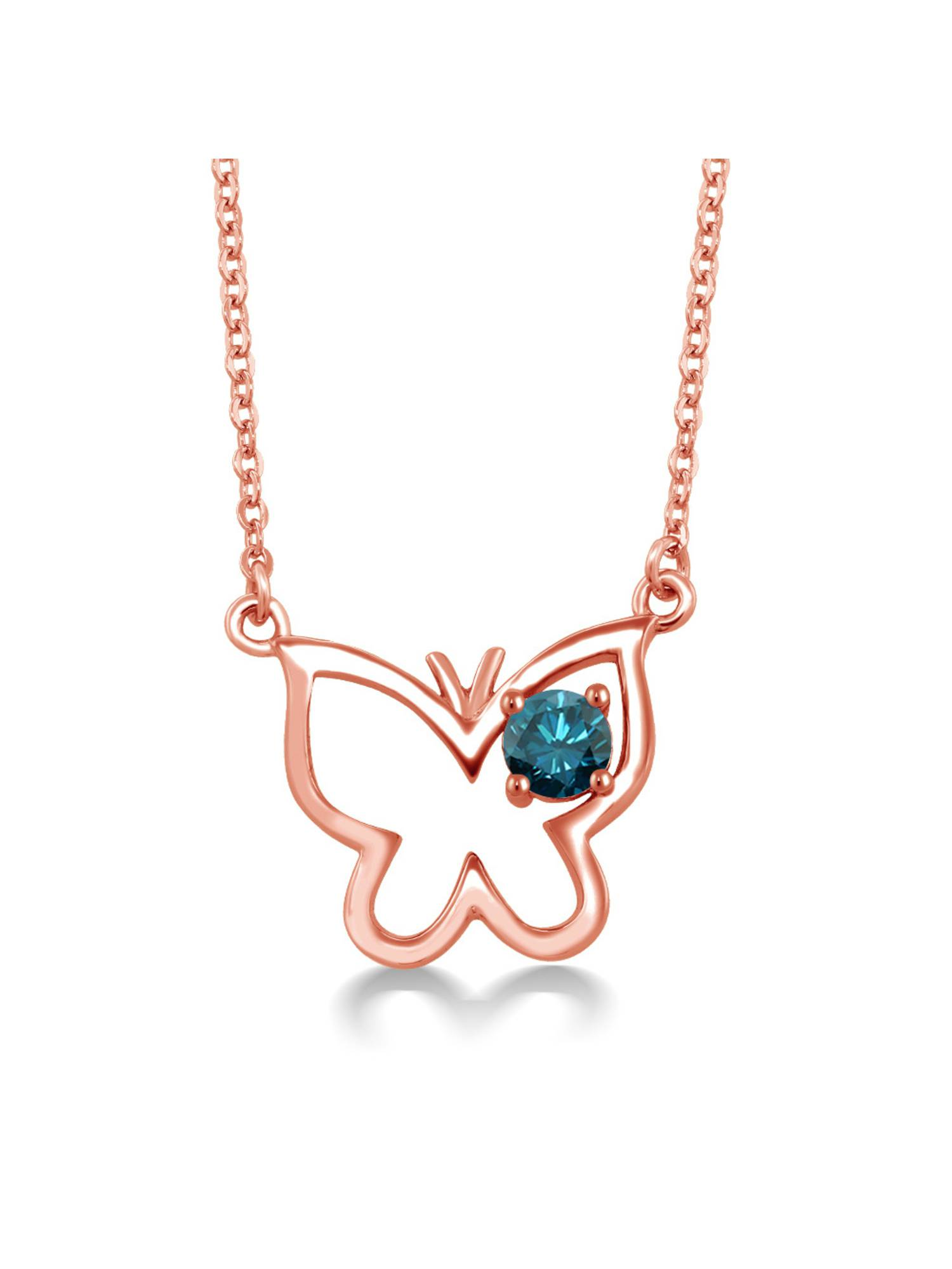 0.27 Ct Round Blue Diamond 18K Rose Gold Plated Silver Necklace by